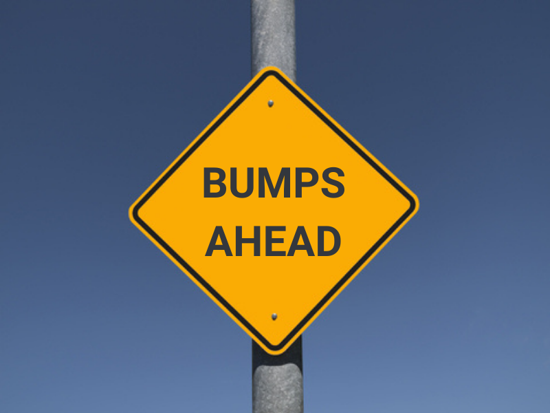 """Traffic sign stating """"bumps ahead"""""""
