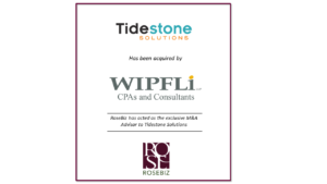 Tidestone Solutions MS Dynamics ERP Practice Gets Acquired with Help from RoseBiz M&A Advisor Services